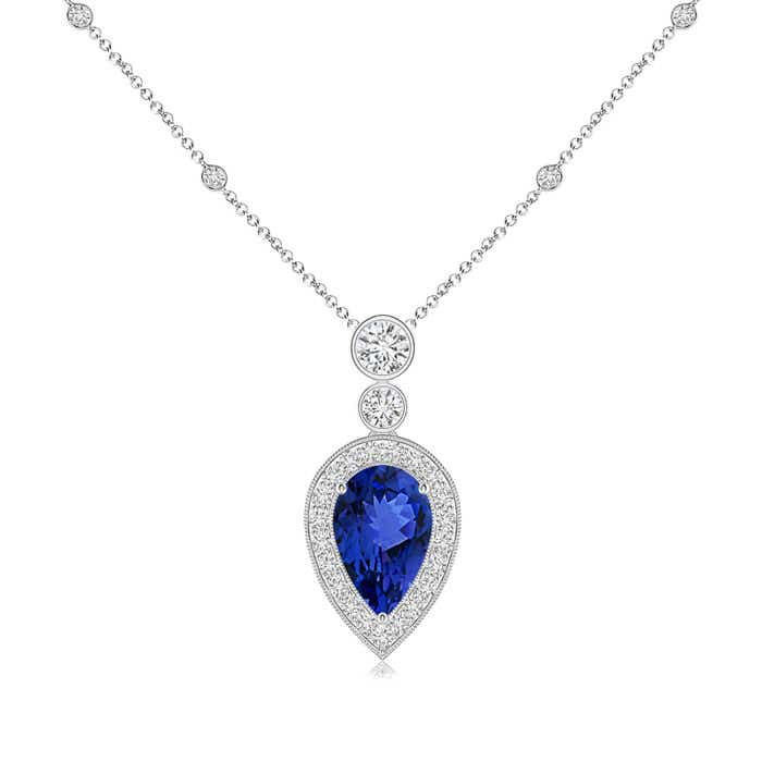 Angara Cushion Cut Tanzanite Pendant with Diamond Halo in White Gold 6VS3yNV
