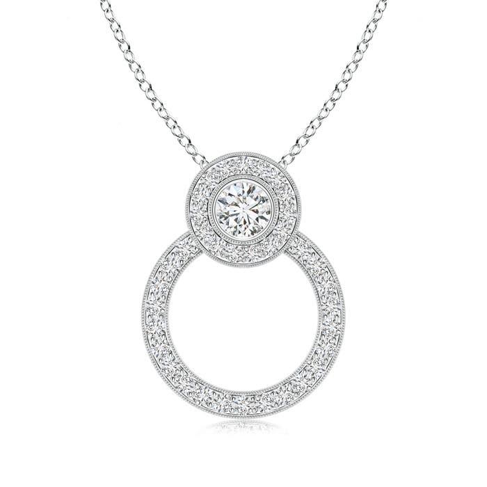 Angara Diamond Circle Pendant with Double Halo nW5kdINP