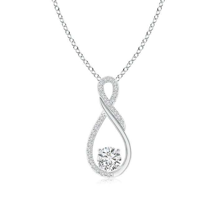 Angara Two Stone Diamond Infinity Pendant JDHOg5SWDf