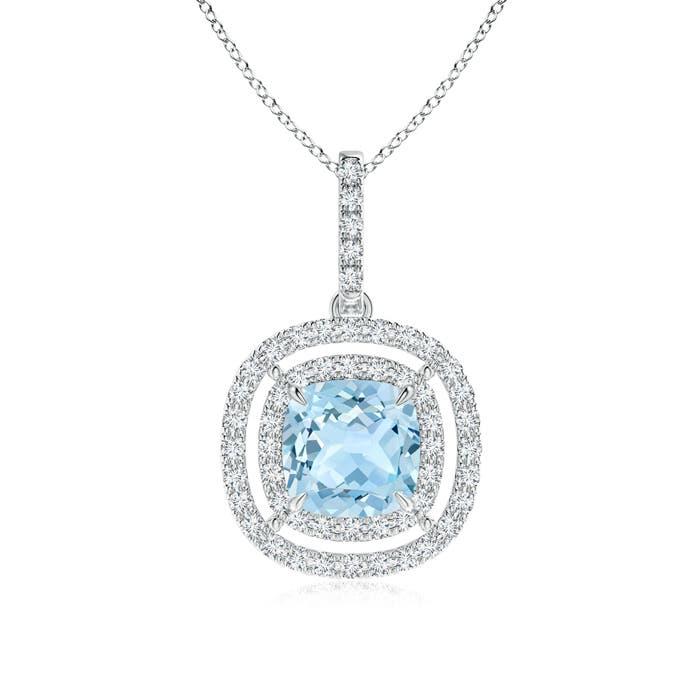 Angara Platinum Diamond Halo Aquamarine Drop Necklace lEU5bcaN