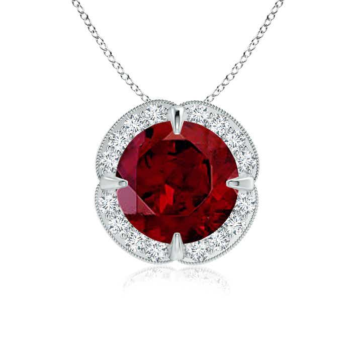 Angara Bezel-Set Garnet Pendant with Diamond Halo bIAwou
