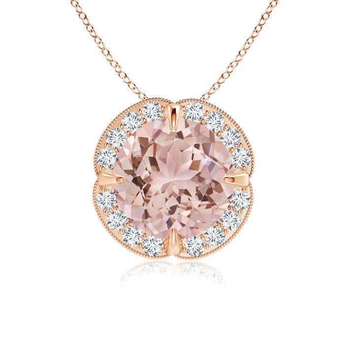 Angara Claw-Set Round Pink Tourmaline Pendant with Diamond Halo CIdXbVNrM4