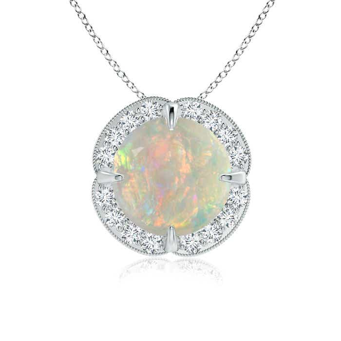 Angara Claw-Set Opal Clover Pendant with Diamonds