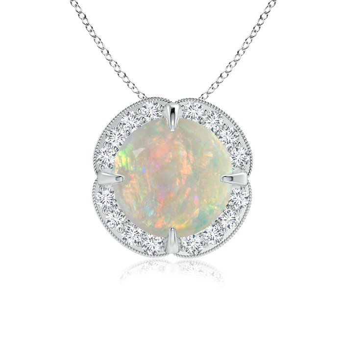 Angara Claw-Set Opal Clover Pendant with Diamonds uUIh0