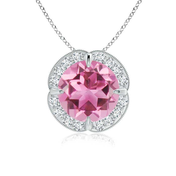 Angara Claw-Set Round Pink Tourmaline Pendant with Diamond Halo gXF6bcuPT