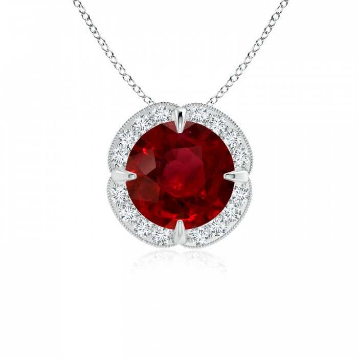 Angara Ruby Knotted Heart Pendant with Diamond S7x1Op
