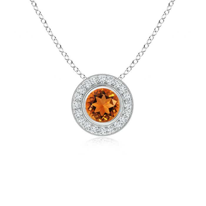 Angara Bezel-Set Citrine Pendant with Diamond Halo