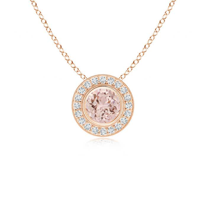 Angara Morganite Drop Pendant with Diamond Halo in White Gold p9xFay