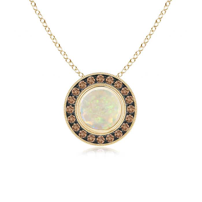 Angara Bezel-Set Opal Pendant Necklace in White Gold
