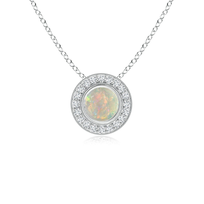 Angara Bezel-Set Aquamarine Pendant with Coffee Diamond Halo YQopMr