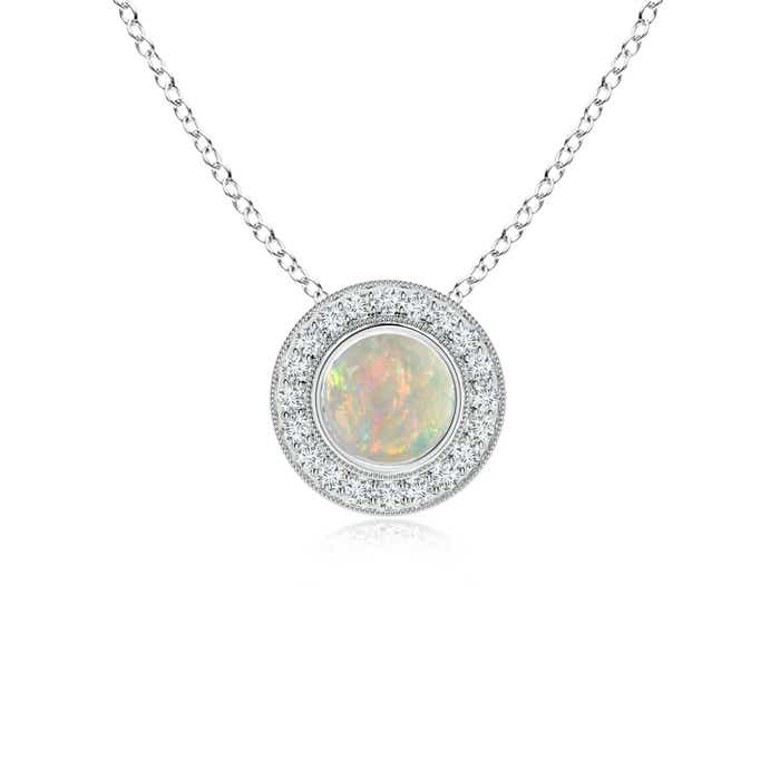 Angara Bezel-Set Aquamarine Pendant with Diamond Halo
