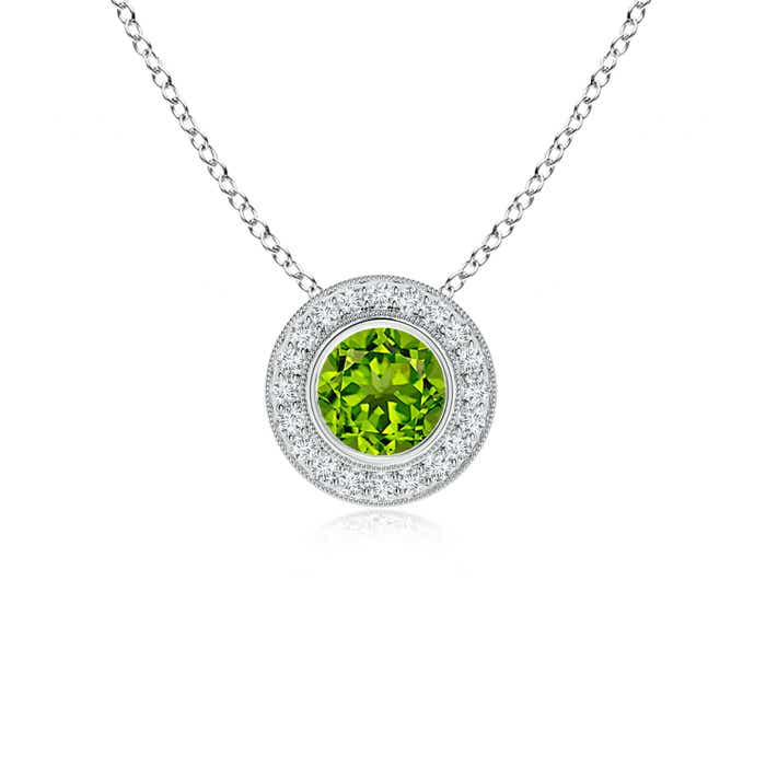 Angara Bezel-Set Peridot Pendant with Diamond Halo 6opiLlwRW
