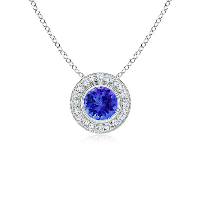 Angara Tanzanite and Brown Diamond Halo Vintage Pendant in Yellow Gold
