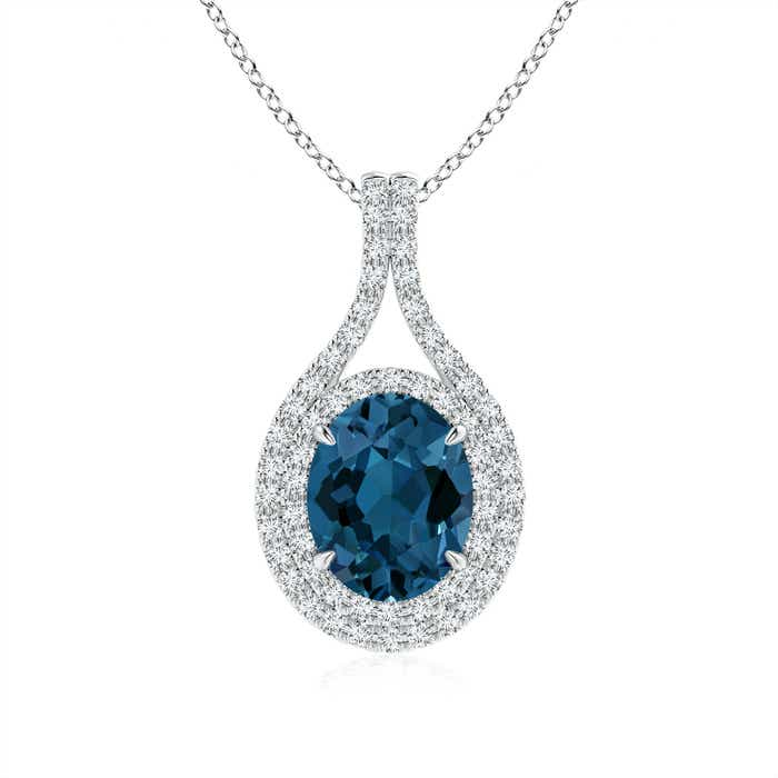Angara Oval Blue Topaz Double Halo Loop Pendant 1aRuy4c