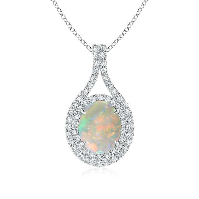 Angara Vintage Opal Drop Necklace in White Gold PA3Bs
