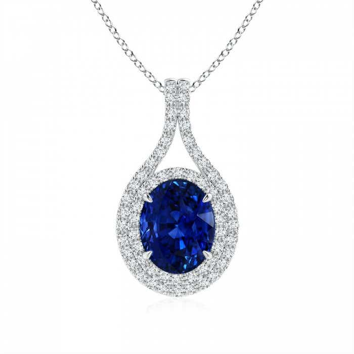 Angara Sapphire Necklace - GIA Certified Sapphire Pendant in White Gold PNxnHl4