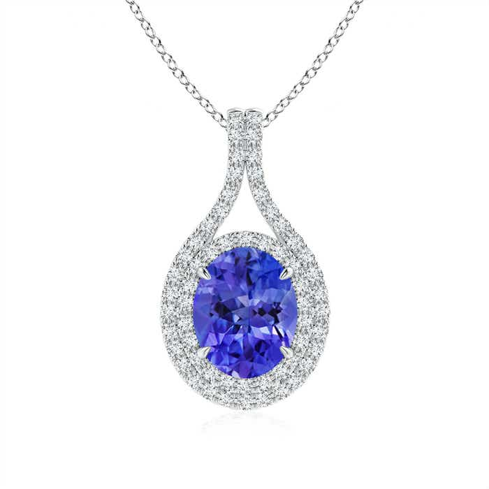 Angara Oval Tanzanite Diamond Necklace in 14k Rose Gold 8iNvu