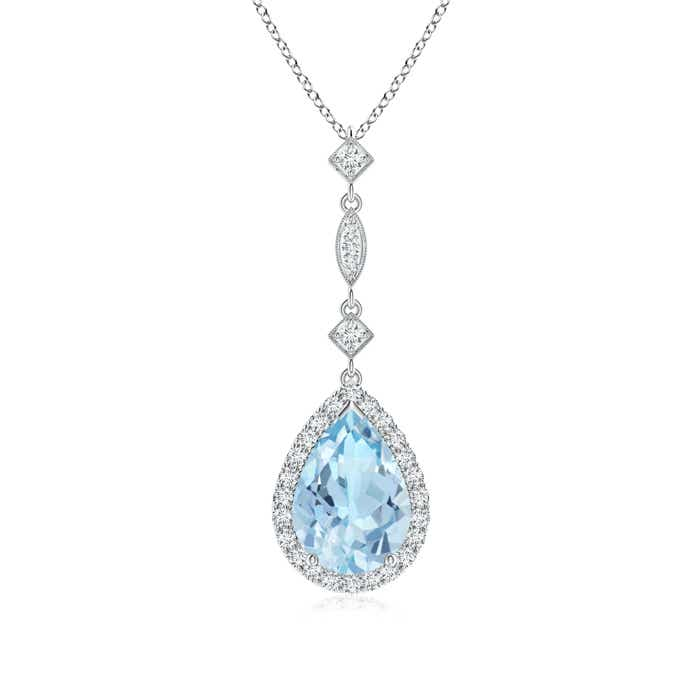 Angara Aquamarine Flower Cluster Pendant with Diamond xfaxNal2dY