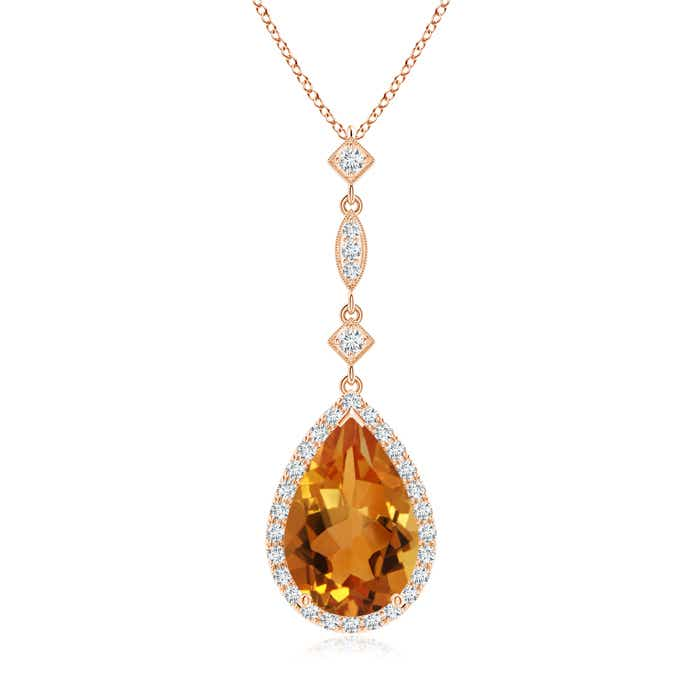 Angara Aquamarine Teardrop Pendant with Diamond Accent in Rose Gold