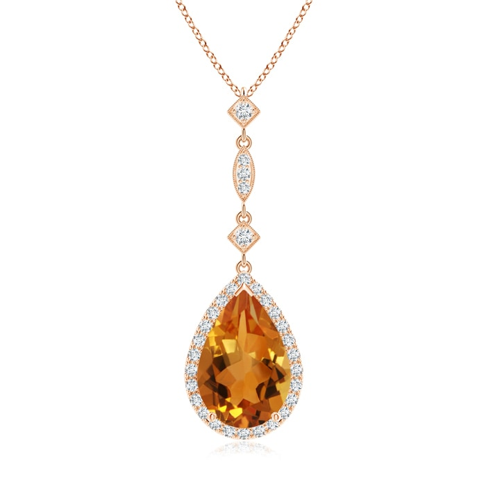Angara Pear Citrine Teardrop Necklace with Diamond in Rose Gold TlNoahBGN9