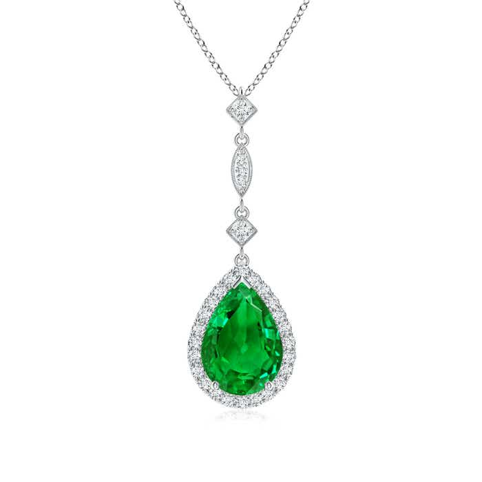 Angara Natural Emerald Teardrop Pendant in White Gold 6vzkCQes