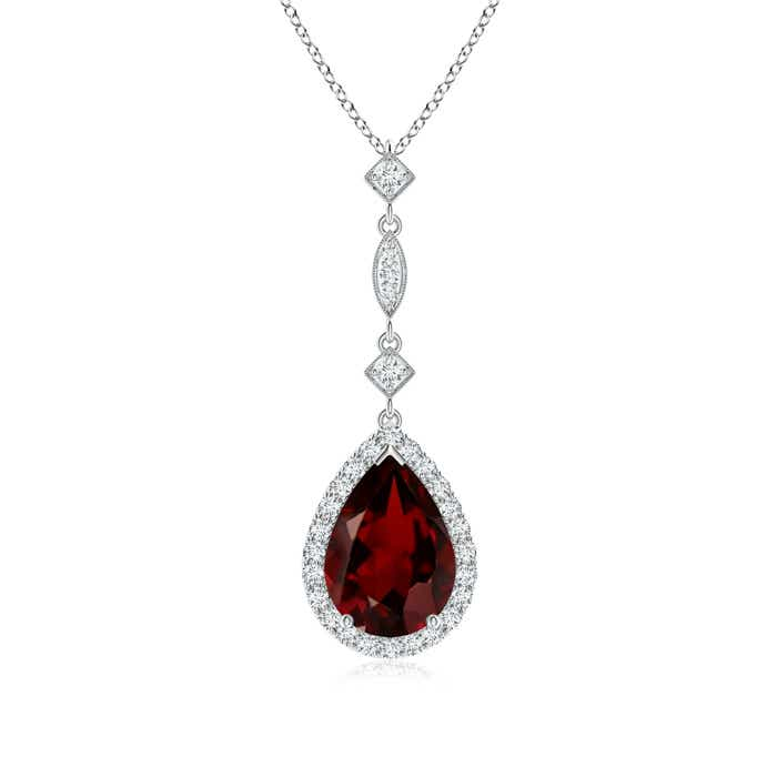 Angara Pear Garnet Teardrop Necklace with Diamond in Yellow Gold Fq7EXlw