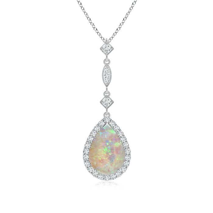 Angara Pear Shaped Opal Teardrop Necklace in Rose Gold