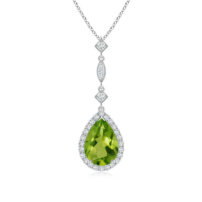 Angara Pear Peridot Teardrop Necklace with Diamond in Rose Gold