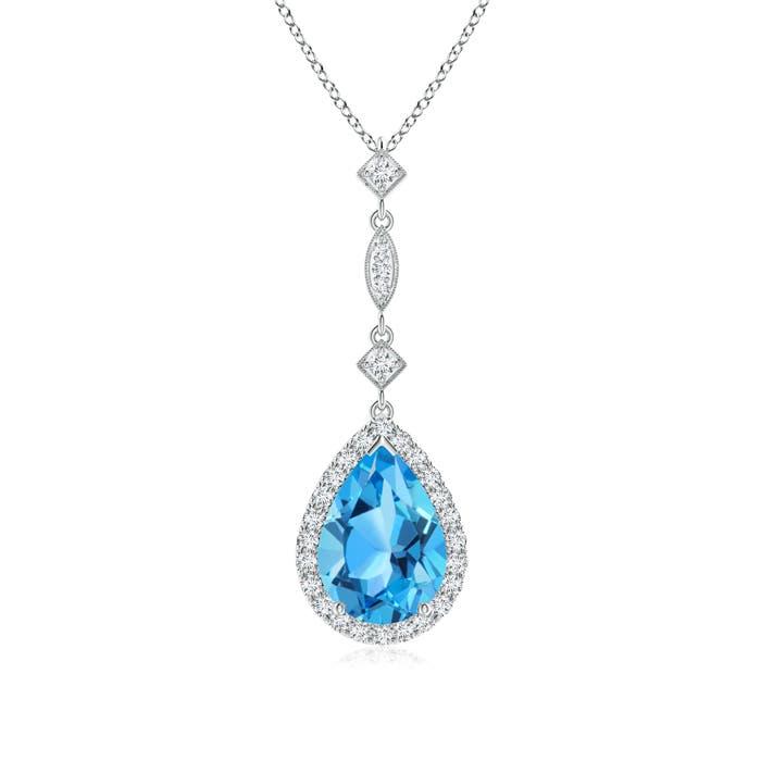 Angara Swiss Blue Topaz Teardrop Pendant with Diamond Halo smhjS8nf