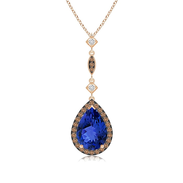 Angara Opal Teardrop Pendant with Coffee & White Diamonds jDIE5
