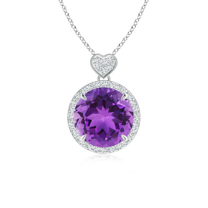 Angara Diamond Halo Amethyst Drop Pendant in White Gold LdDC94