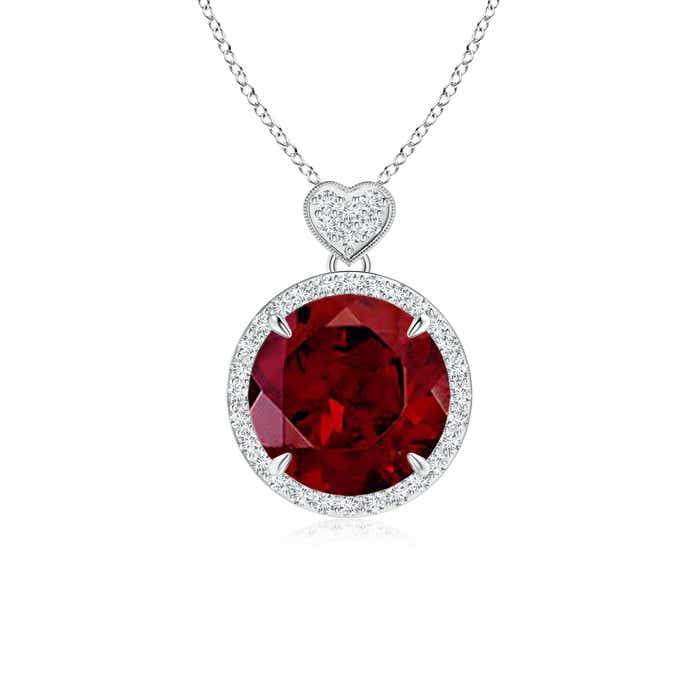 Angara Round Drop Garnet Halo Earrings With Diamond Heart Motifs in Platinum oBy4lp