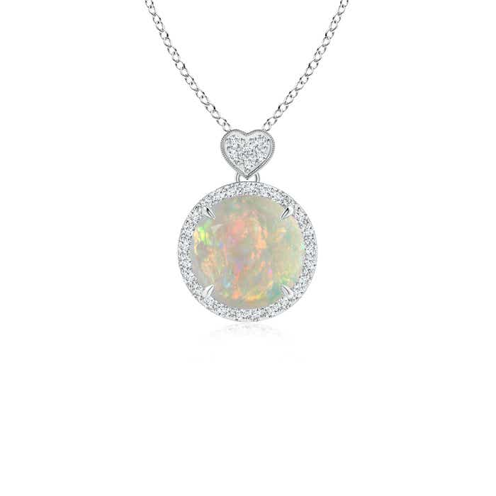 Angara Diamond Halo Opal Drop Necklace in White Gold