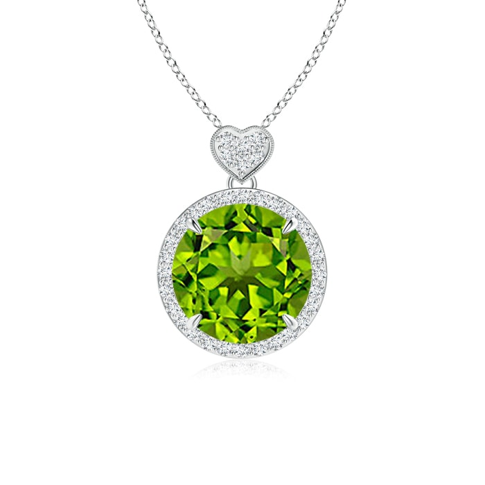 Angara Peridot White Gold Necklace yNHQn