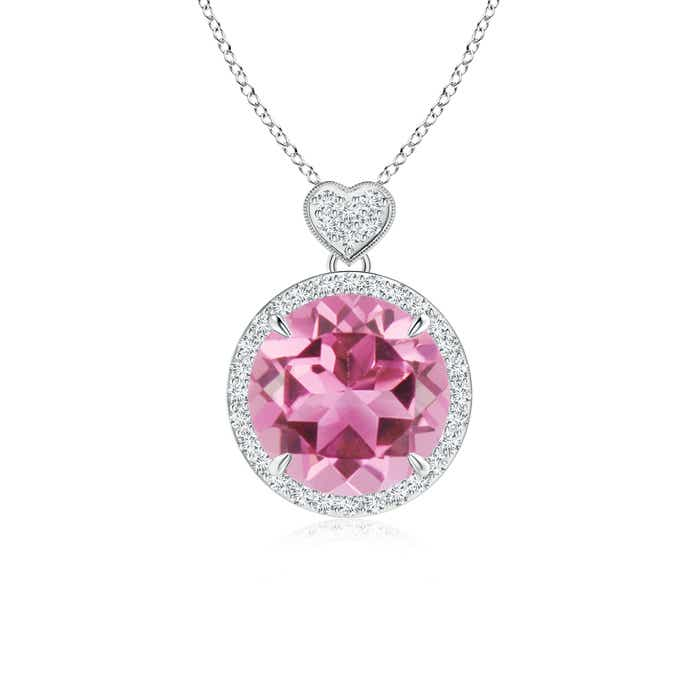 Angara Dangling Round Pink Tourmaline and Diamond Halo Pendant in Yellow Gold 9JePAtCw