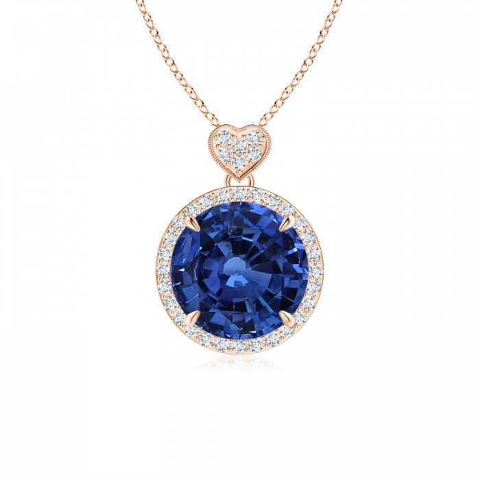 Angara Blue Sapphire Pendant - GIA Certified Sapphire Knotted Heart Pendant with Diamond FPUI0jvlyH