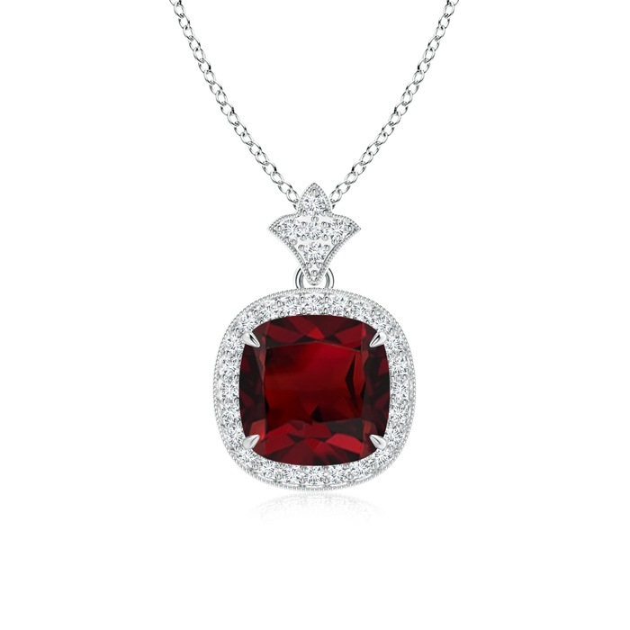 Angara Garnet Pendant in White Gold