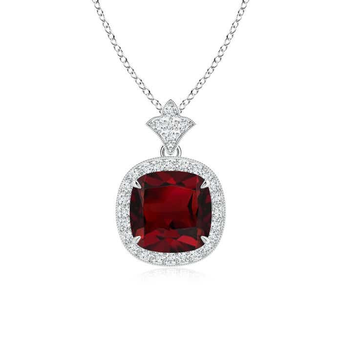 Angara Pear Drop Garnet Diamond Halo Vintage Necklace in Yellow Gold