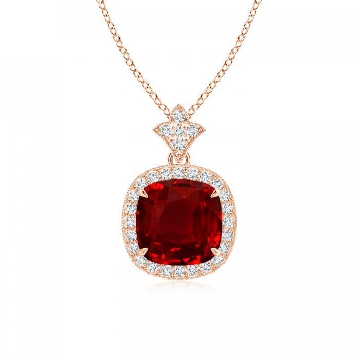 Angara Cushion Ruby Pendant with Diamond Halo WcgamC