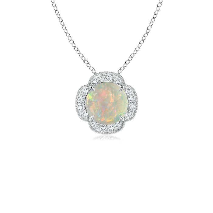 Angara Natural Opal Bezel-Set Necklace in White Gold