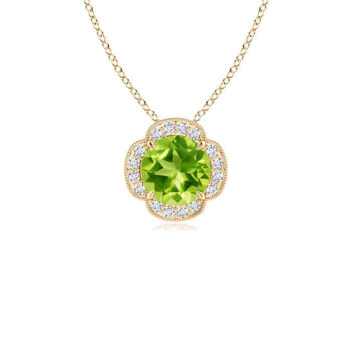 Angara Claw-Set Peridot Clover Pendant with Diamonds 7BFq6