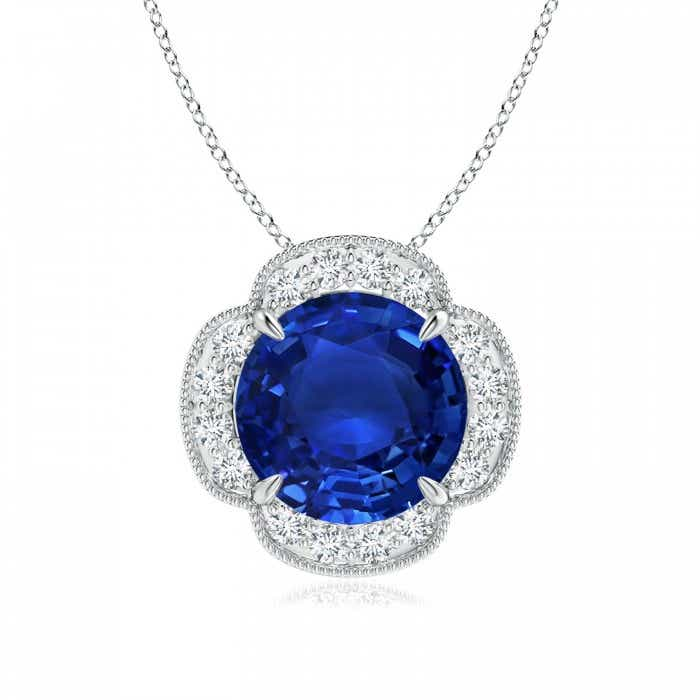Angara Blue Sapphire Pendant - GIA Certified Blue Sapphire Necklace in 18k White Gold sPBwRzu