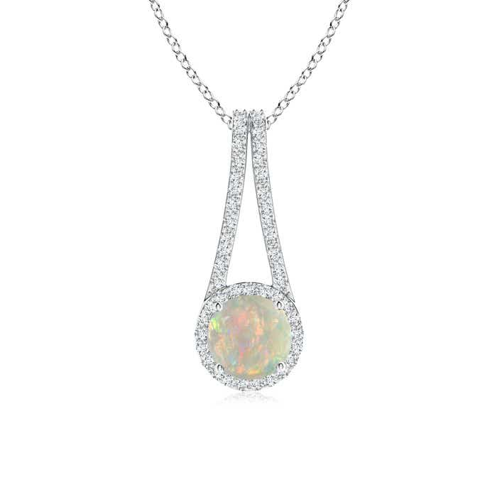 Angara Diamond Halo Opal Drop Pendant in Yellow Gold Se8P1rqtw