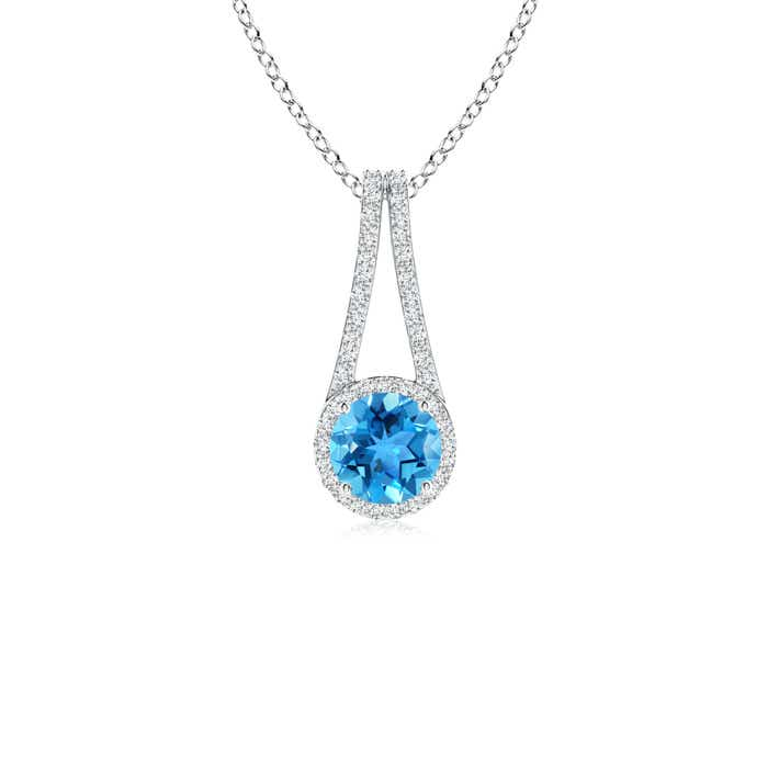 Angara Double Loop Twist Swiss Blue Topaz Pendant with Diamonds 5xDXD