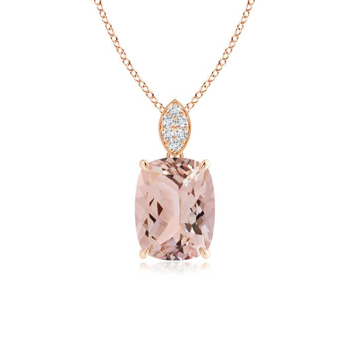 Angara Morganite Necklace - Cushion Morganite Solitaire Pendant with Diamond Leaf Bale 0Q8tlb