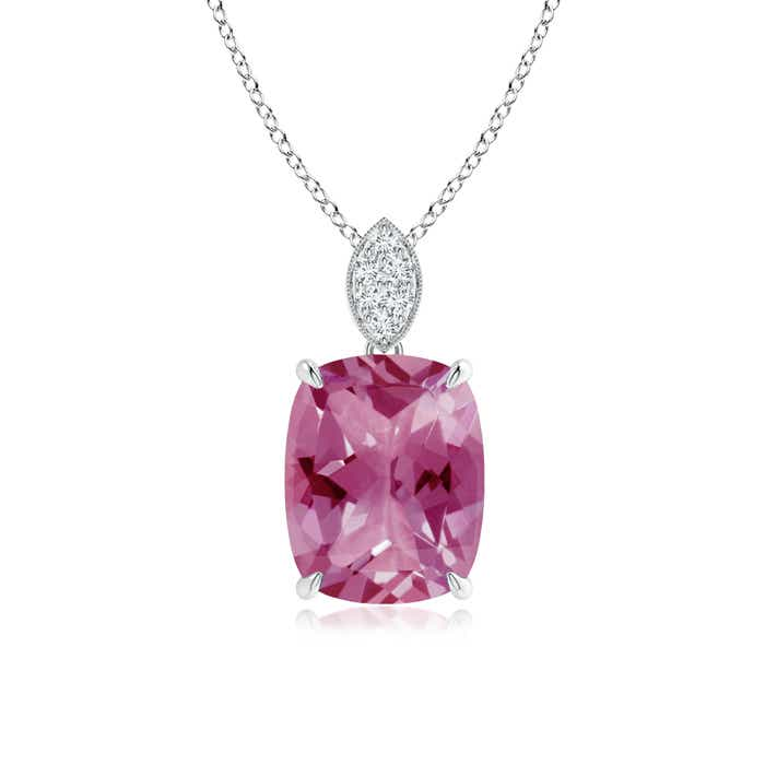 Angara Round Pink Tourmaline Necklace Pendant for Women in Platinum VB4AOz1lV