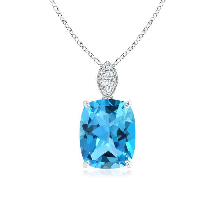 Angara Swiss Blue Topaz Necklace for Women in White Gold 1GJpOK14p
