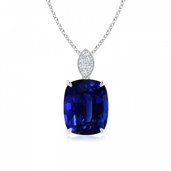 Angara Blue Sapphire Pendant - GIA Certified Rectangular Cushion Sapphire Infinity Pendant Ss4Wqdl7