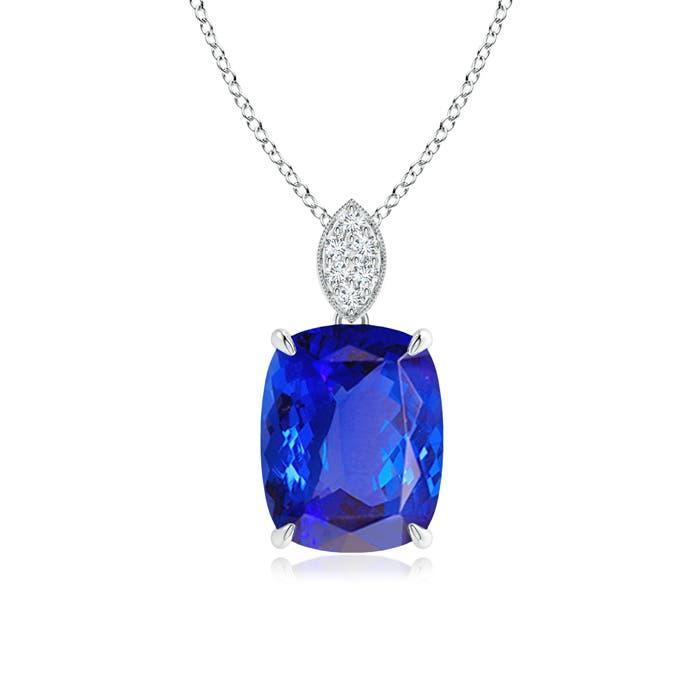 Angara Sideways Cushion London Blue Topaz and Diamond Halo Pendant qGNdCNpRBR