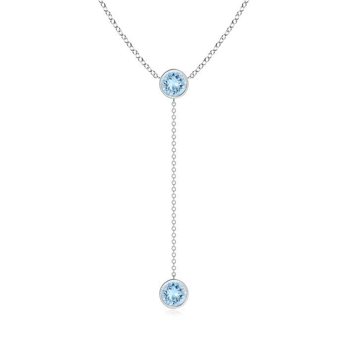 Angara Round Aqumarine Solitaire Necklace in White Gold 5EdVcbaM3y